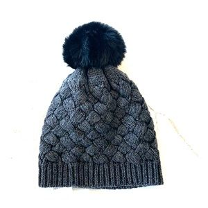 J Crew charcoal gray winter hat- faux fur ball
